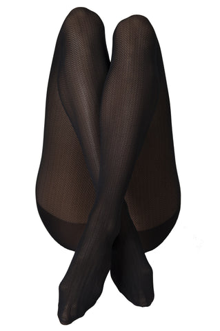 Nina Fishbone Black 40 Den Stockings