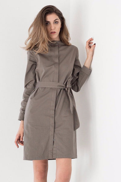 Straight neckline Shirt Dress in Olive