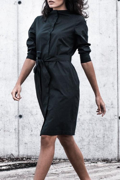 Straight neckline Shirt Dress in Black