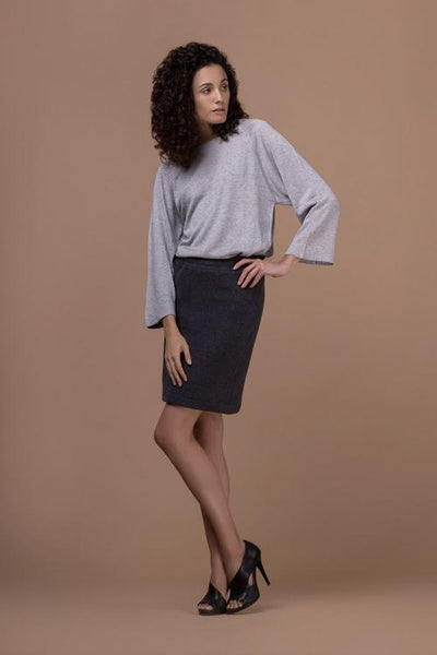 soft fitted grey skirt ethical fashion JanNJune