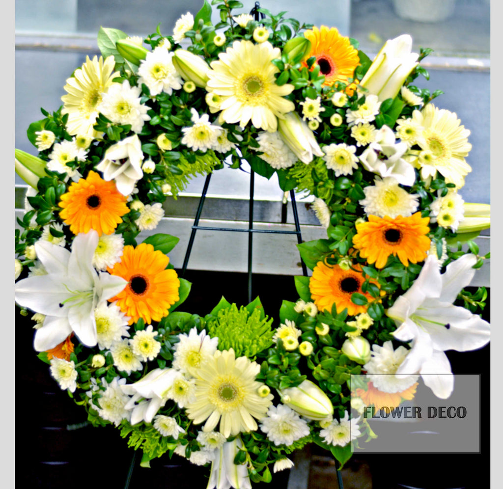 "Wreath 24"" Yellow and Orange"