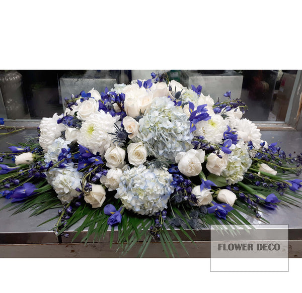 Casket Spray Blue and White -open
