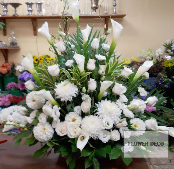 Calla Lilies and Rose Arrangement