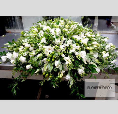 Casket Spray White Freesia
