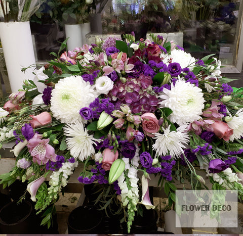 Casket Spray - Purple and White
