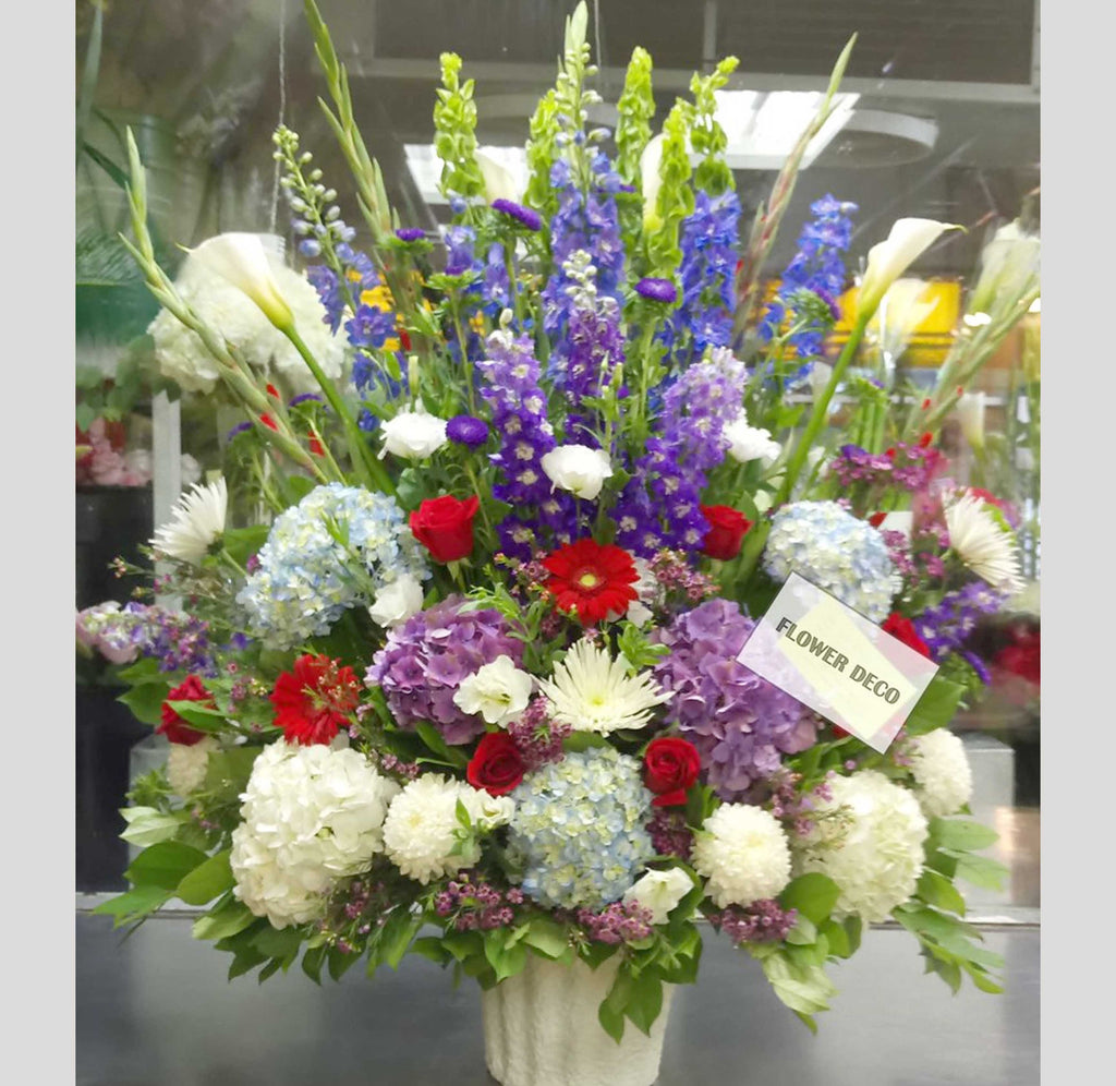 Purple, Red and White Arrangement