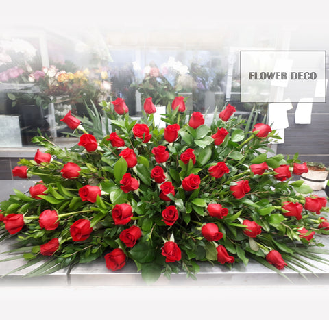 Casket Spray - Red Rose Burst Arrangement