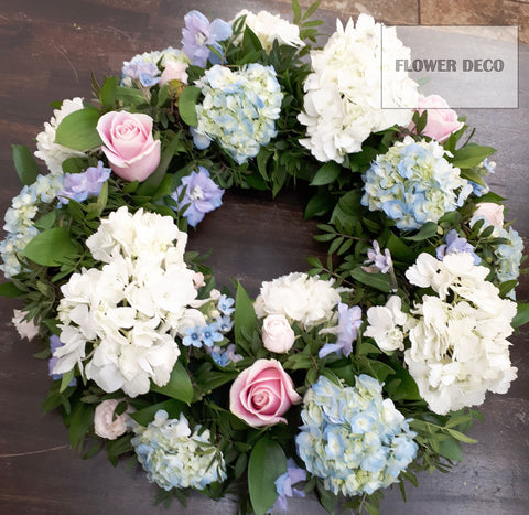 Wreath Blue and Pink