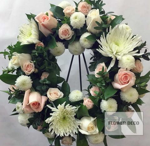 "Wreath 15"" White and Pink"