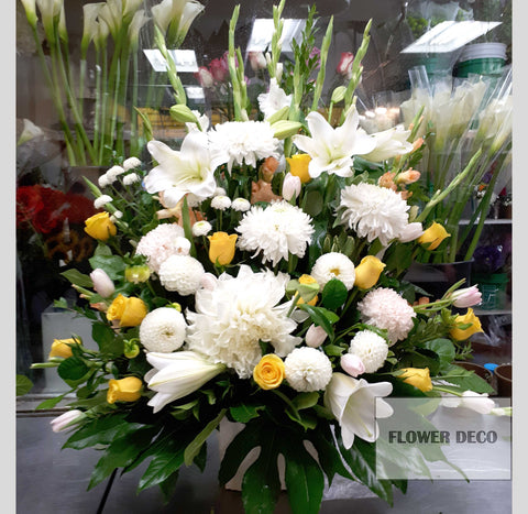 Yellow Accent Funeral Arrangement