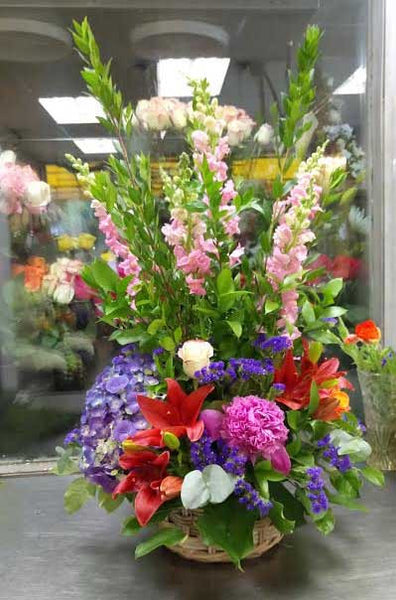 Colorful Fresh Cut Flower Basket