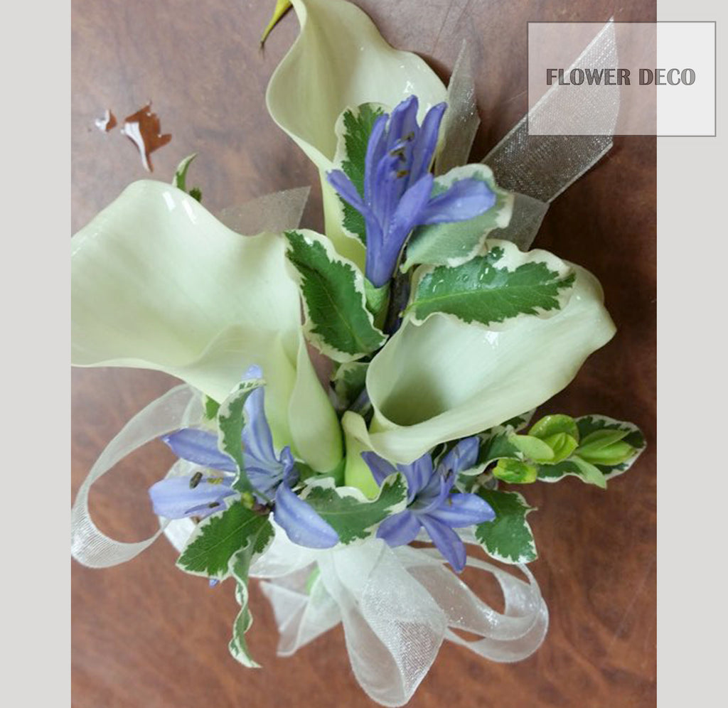 Mini Calla lilies with Purple Corsage