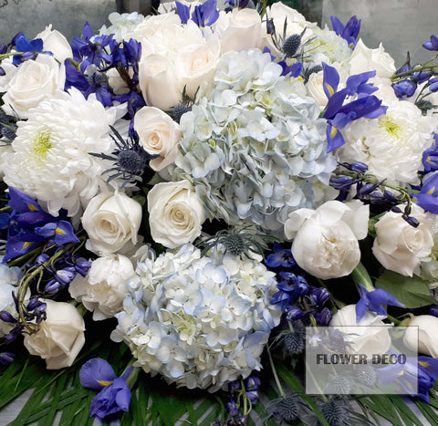 Casket Spray Blue and White