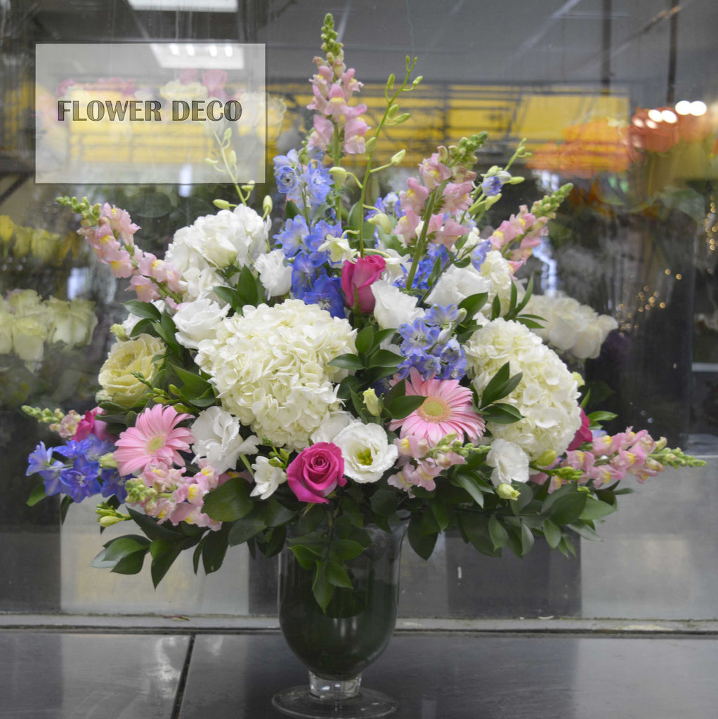 Blue, Pink and White Arrangement