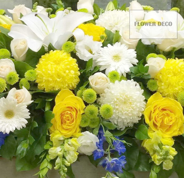 Casket Spray Blue, Yellow and White
