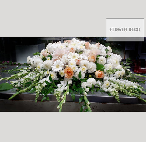 Casket Spray White and Peach