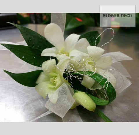 White Dendro with Wire Corsage