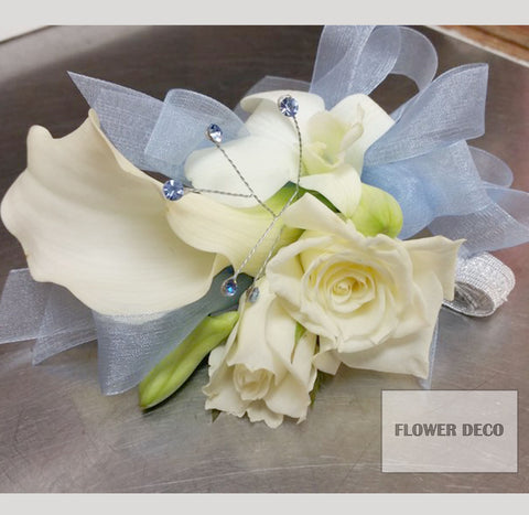 White with sky blue bow Corsage