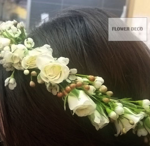 Hair Crown - white mini rose and wax flowers