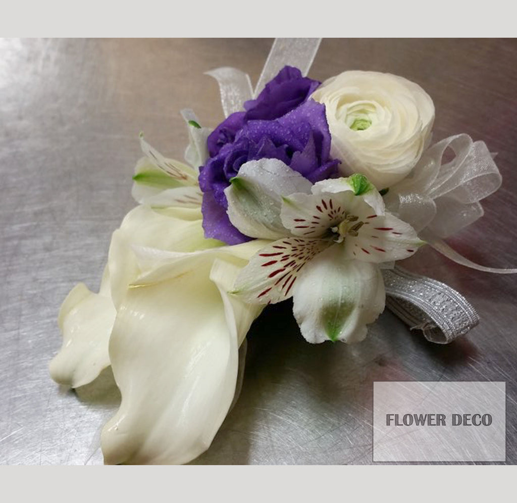 Mixed flowers with Purple Accent Corsage
