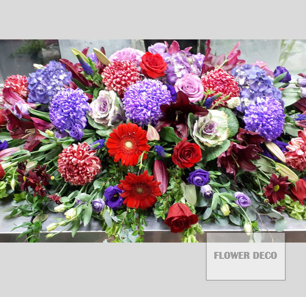 Casket Spray Purple and Red -open