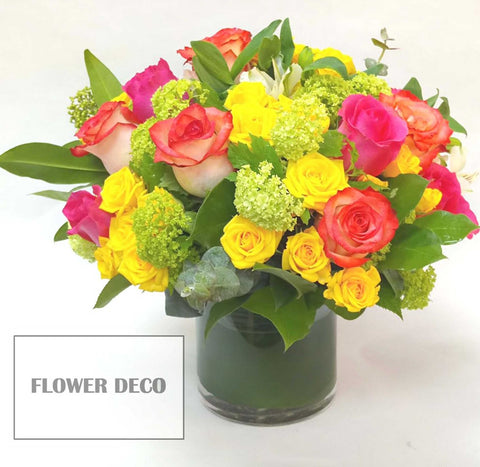 Assorted Rose and Green Arrangement