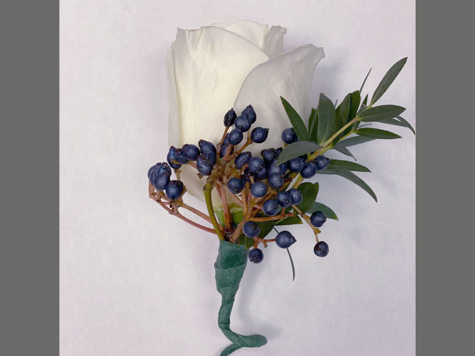 Blue Accent White Rose Boutonnieres