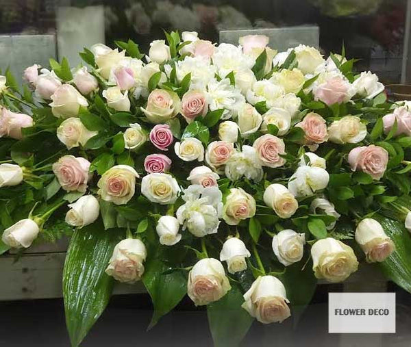 Casket Spray Pink and White Rose -closed