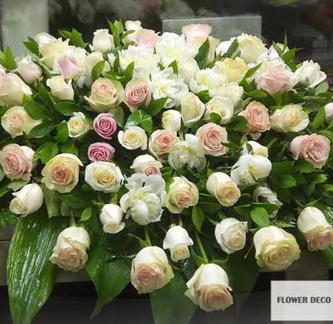 Casket Spray Pink and White Rose