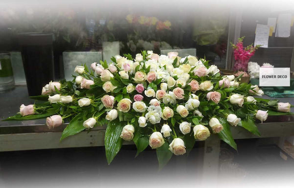 Casket Spray Pink and White