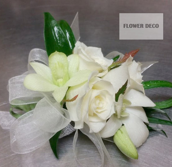 White Dendro and Mini rose Corsage