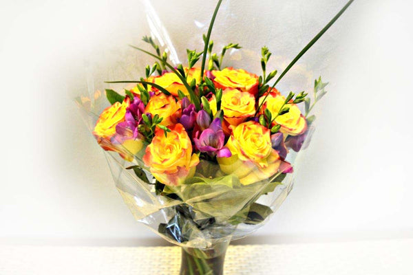 Rose and Freesia Bouquet with Vase (random colour)