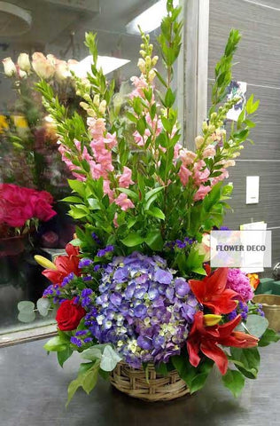 Colorful Tall Fresh Cut Flower Basket