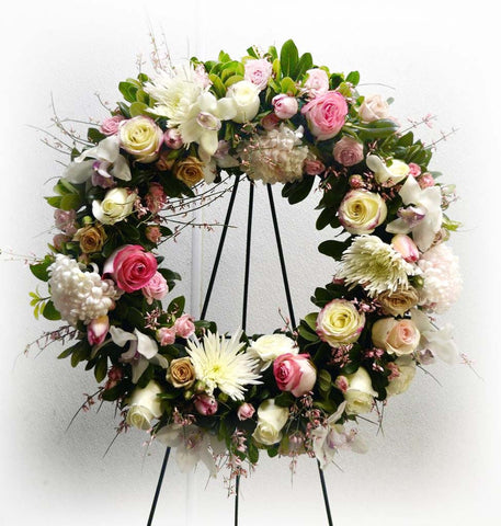 "Wreath 24"" White and Pink"
