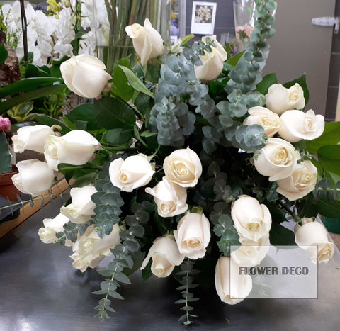 2 Dozen White Roses Bouquet