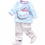 Set 2 Pcs Sweatshirt + Pants Cat for Girls Cotton Long Sleeve - 2 Colors