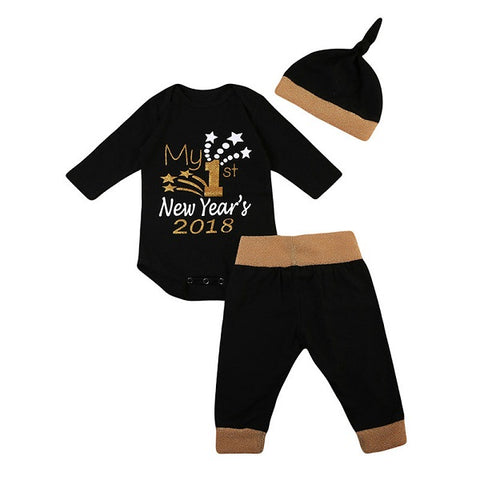 Set 3 Pcs Romper + Long Pant + Hat for Girls & Boys My 1st New Year Long Sleeve