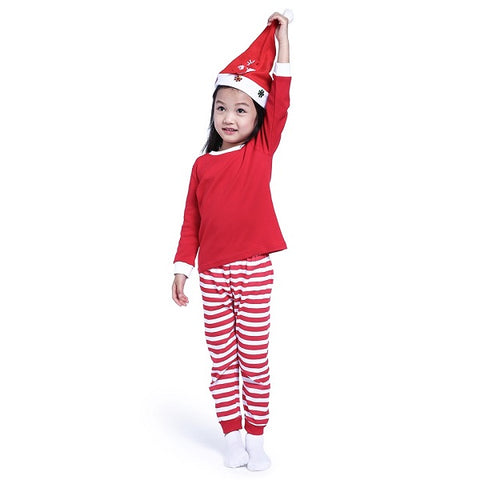 Set 2 Pcs Christmas Pajamas for Girls & Boys Striped Cotton Long Sleeve - 3 Colors