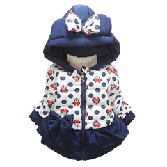 Coat with Hoodie for Girls Cartoon Cotton Thick Long Sleeve - 2 Colors