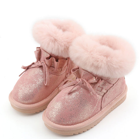 Boots Genuine Leather Glitter for Girls Warm Ruffles - 2 Colors