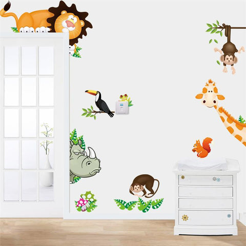 Wall Stickers Cartoon Zoo Animals / Dinosaur for Kids Rooms
