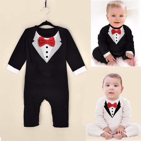 Romper for Boys Gentleman Bow Leisure Long Sleeve - 4 Styles