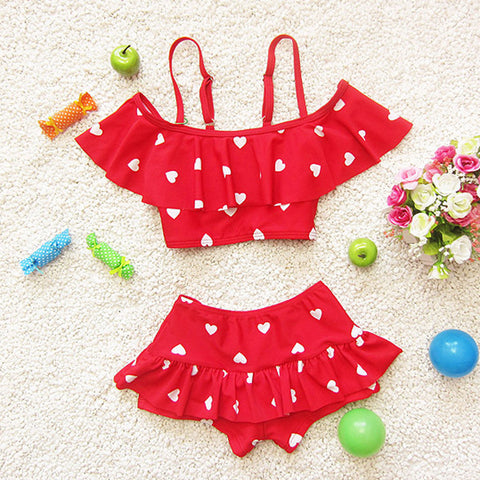 Swimwear Bikini Two Pieces Heart with Ruffle for Girls