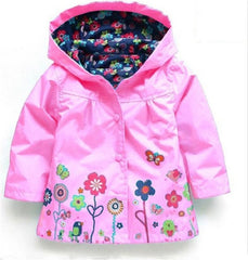 Coat for Girls Waterproof Flowers Long Sleeve - 5 Colors