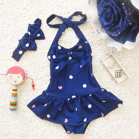 Swimwear One Piece Dots & Hearts with Hair band for Girls - 2 Colors