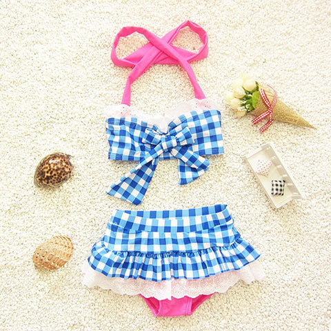 Swimwear Bikinis Two Pieces Plaid for Girls - 2 Styles