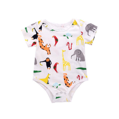 Romper Unisex Animals Short Sleeve - Babies4you
