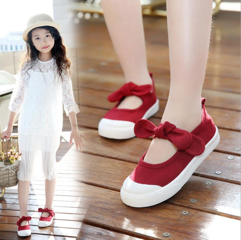 Canvas Shoes for Girls with Bow