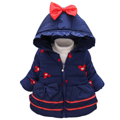 Coat with Hoodie for Girls Cartoon Cotton Thick Long Sleeve - 4 Colors