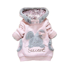 Coat with Hoodie for Girls Rabbit Fleece Long Sleeve - 2 Colors